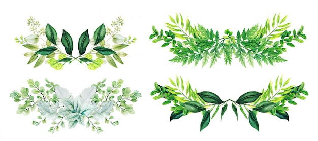 Set of 4 symmetric floral watercolor arrangements composed of different leaves and ferns, hand drawn watercolor illustration