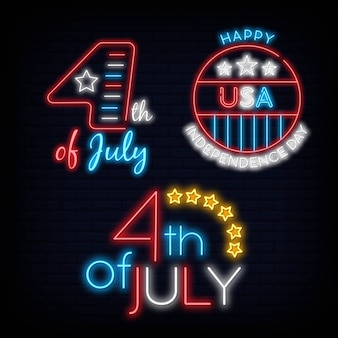 Set 4 th of july neon sign. usa symbol light bright night