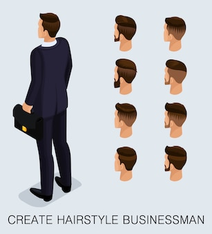 Set 4 trendy isometric 3d businessman
