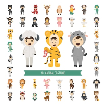 Set of 40 animal costume characters