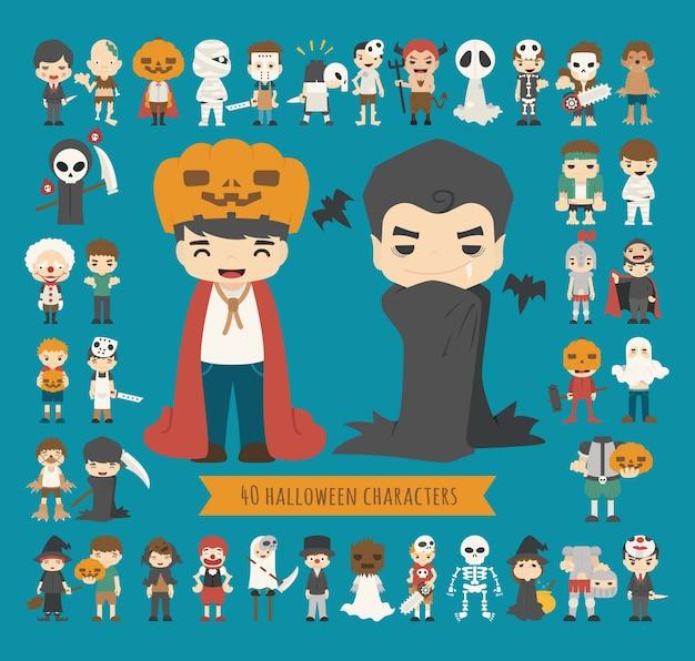 Set of 40 halloween costume characters