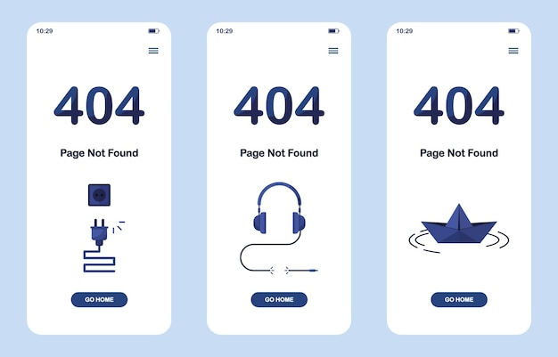 Set of 404 error page not found banners as a mobile version with headphones, origami paper boat and disconnected cable for website. blue