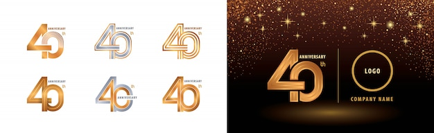 Set of 40th anniversary logotype design, forty years anniversary celebration