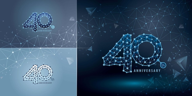 Set of 40th anniversary logotype design forty years celebrating anniversary logo abstract connect dots tech number logo