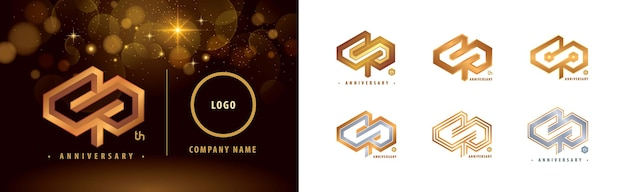 Set of 40th anniversary logotype forty years anniversary celebration 40 year hexagon infinity logo