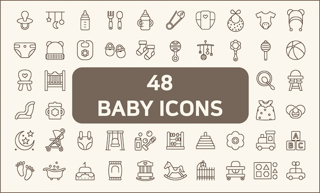 Set of 48 baby and kid icons line style.  contains such icons as toy, baby bottle, feeding bottle, diaper, nappy, mobile, clothing, socks and more. customize color, stroke width control , easy resize.