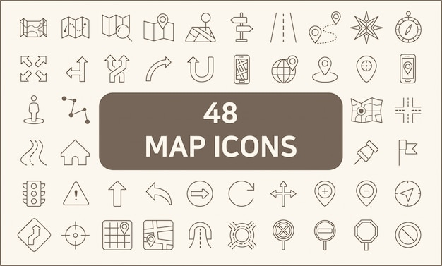 Set of 48 map and navigation line style.contains such icons as map, direction, road, gps navigation, route, direction sign, road sign, arrow and more.
