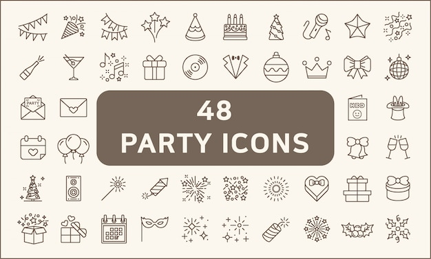 Set of 48 party and holiday icons line style. included the icons as balloons, birthday, music, firework, gift,decoration and more.