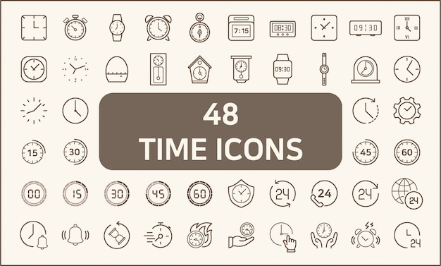 Set of 48 time and clock icons line style.  contains such icons as stopwatch, alarm, clock, sand glass, timer and more. customize color, stroke width control , easy resize.