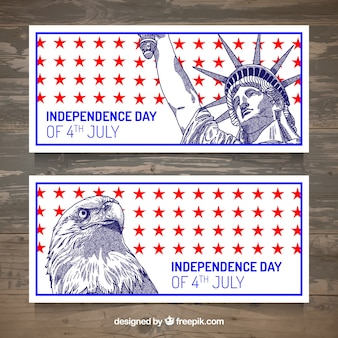Set of 4th of july banners with icons