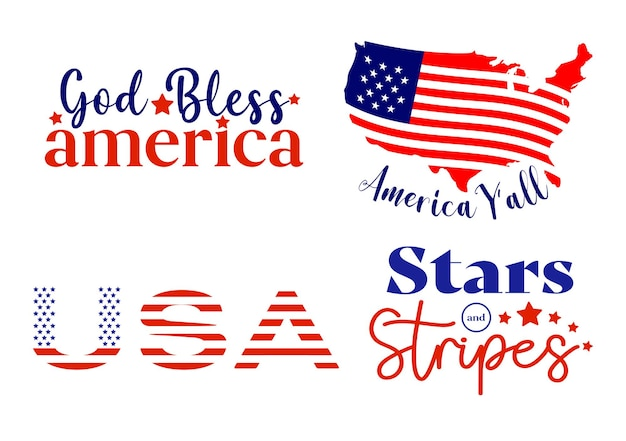 Set of 4th of july. independnce day quotes Premium Vector