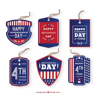 Set of 4th of july labels in flat style