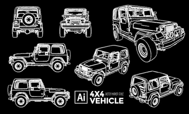 Set of 4x4 vehicle views. marker effect drawings. editable color.