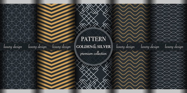 Set of 5 beautiful golden and silver abstract and geometric pattern