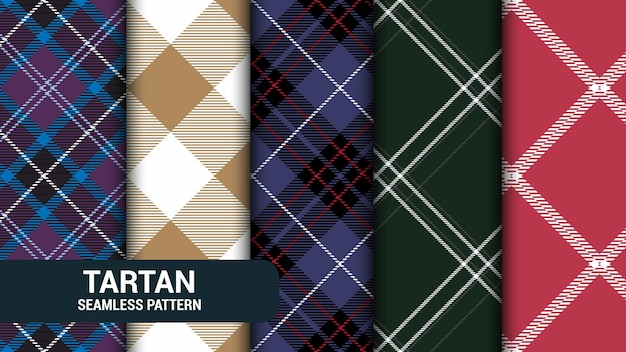 Set of 5 classic checkered tartan seamless texture illustration