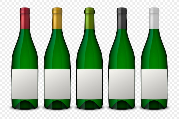 Set 5 realistic green bottles of wine with white labels isolated on transparent background.