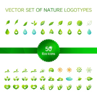 Set of 50 ecology icons, nature logo, biology symbols
