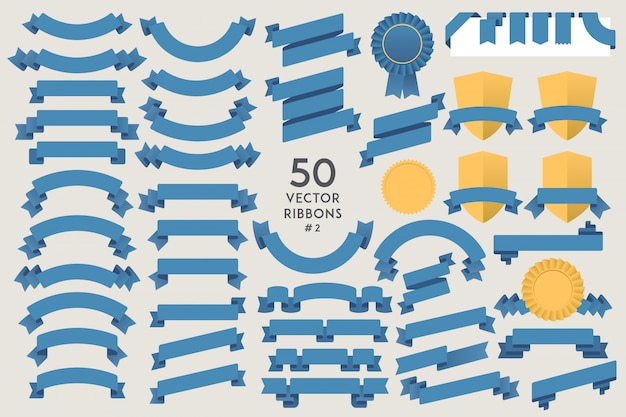 Set of 50 vector ribbons. flat design elements collection
