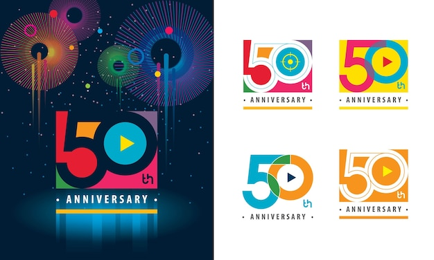 Set of 50th anniversary colorful logo