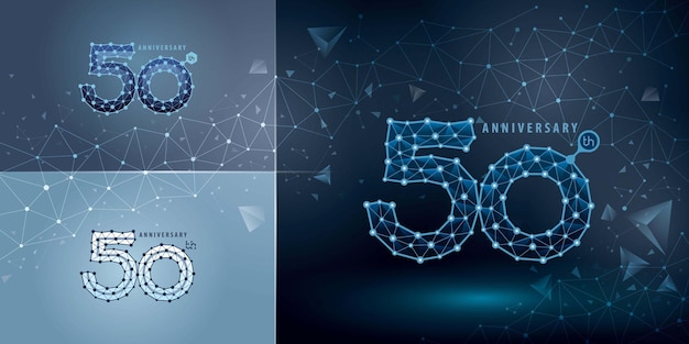 Set of 50th anniversary logotype design fifty years celebrating anniversary logo for technology network connecting dot