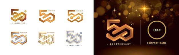Set of 50th anniversary logotype fifty years anniversary celebration 50 year hexagon infinity logo