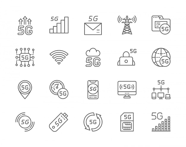 Set of 5g internet line icons.