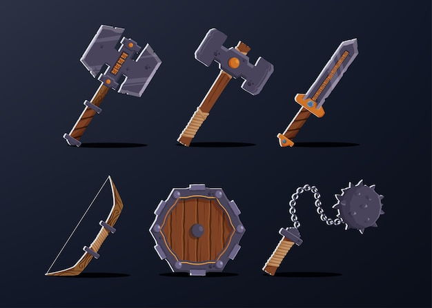 Set of 6 asset item for warrior  character such as, axe, hammer, sword, bow, wooden shield, thorn pendulum.