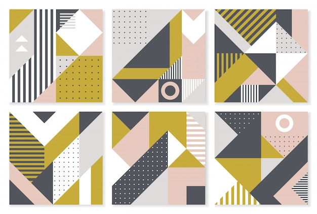 Set of 6 backgrounds with trendy geometric design.