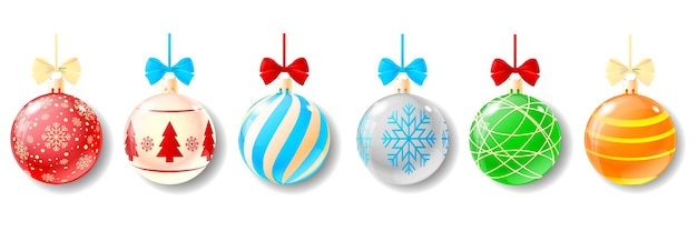 Set of 6 christmas balls set on white background