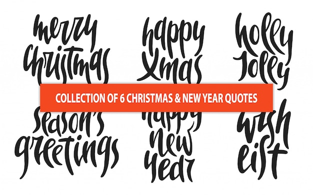 Set of 6 christmas and new year vector typography