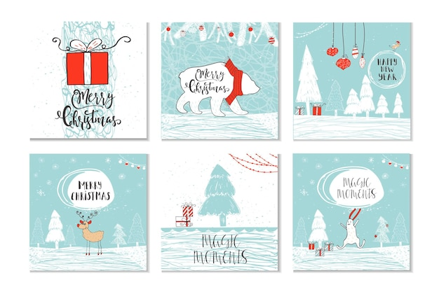 Set of 6 cute christmas gift cards with quote merry christmas, merry and bright, warm wishes, magic moments. easy editable template. cute illustration for card, poster, t-shirt, banner.