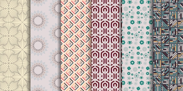 Set of 6 cute seamless patterns