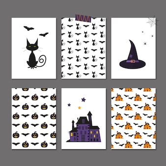 Set of 6 cute vector halloween cards and patterns of pumpkin, castle, cat, ghost, candy, bat, hat. elements, objects for holiday invitation and party design.