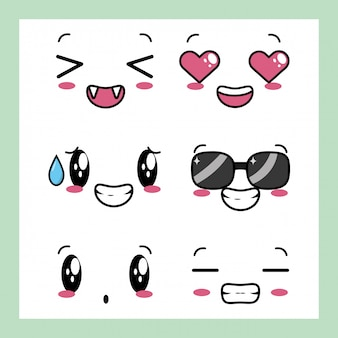 Set of 6 designs of kawaii expressions