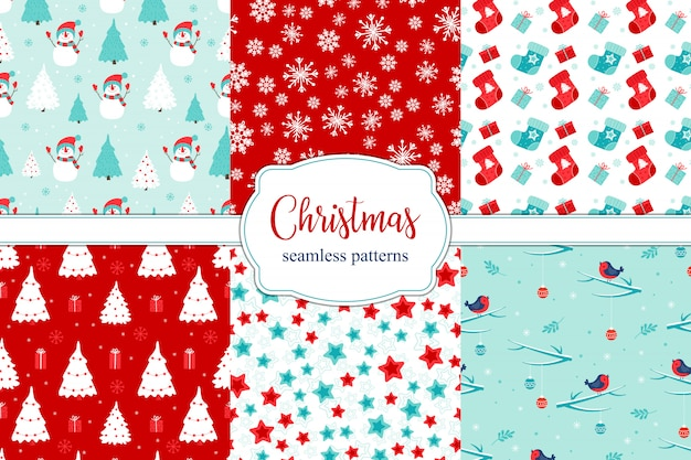 Set of 6 different christmas seamless patterns.