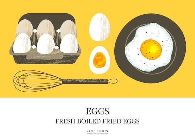 Set of 6 fresh eggs in a cardboard box half a boiled egg fried egg on a plate