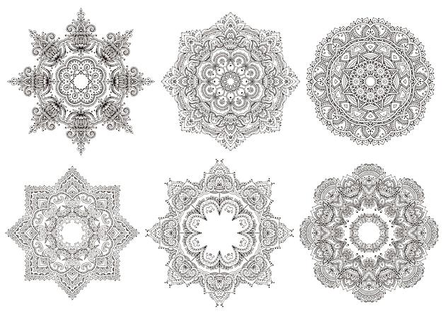 Set of 6 hand drawn oriental mandalas isolated on white background