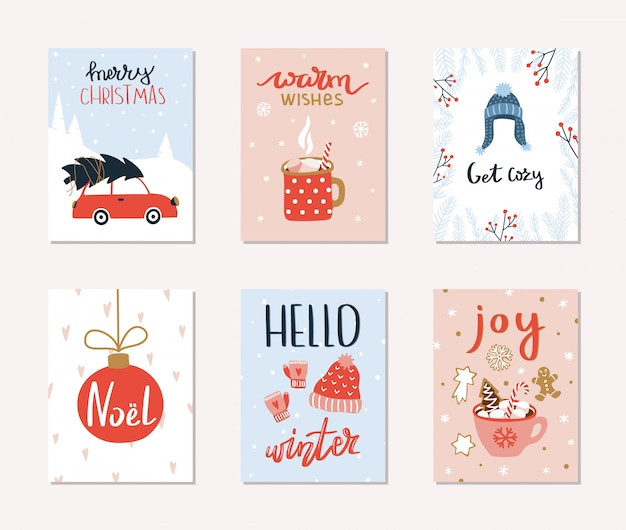 Set of 6 merry christmas and happy new year gift cards.