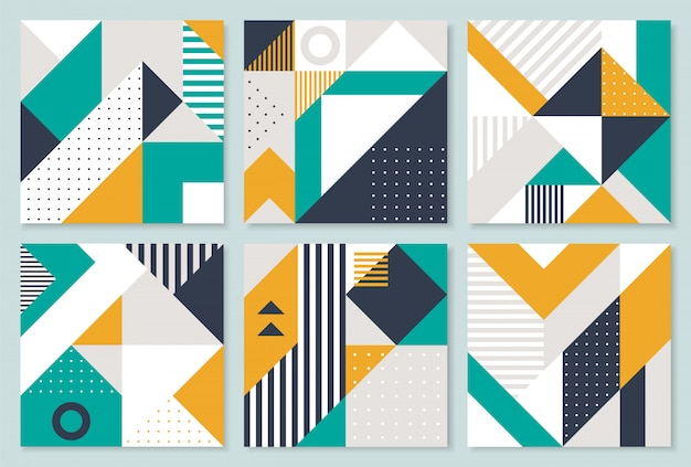 Set of 6 placard with geometric bauhaus shapes.