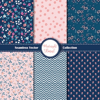 Set of 6 seamless ditsy floral pattern.