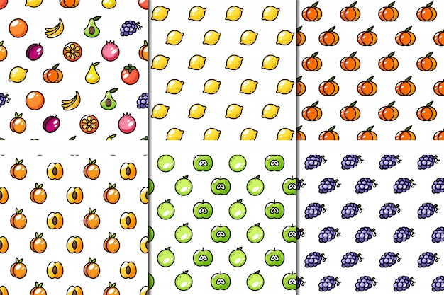 Set of 6 seamless juicy fruit patterns