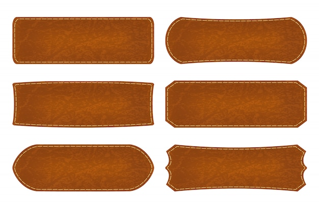 Set of 6 shapes leather sign labels