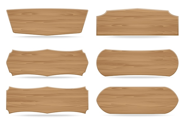 Set of 6 shapes wooden sign boards