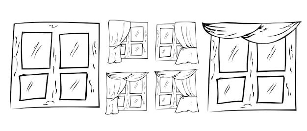 나무 창 및 커튼의 6 간단한 벡터 손 그리기 스케치 설정