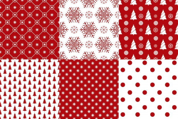 Set of 6 xmas seamless pattern red and white colors.