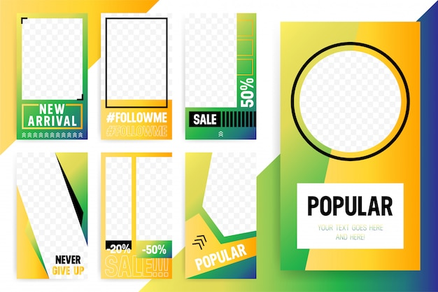 Set of 7 bright  template for stories and streams. trendy sport style color.