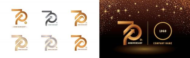 Set of 70th anniversary logotype design, seventy years anniversary celebration