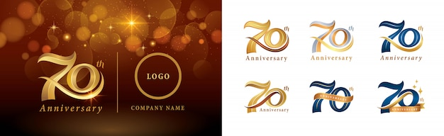 Set of 70th anniversary logotype design, seventy years celebrating anniversary logo