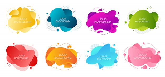 Set of 8 abstract modern graphic liquid elements