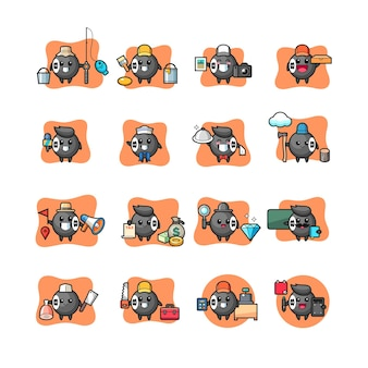Set of 8 ball billiard kawaii character profession